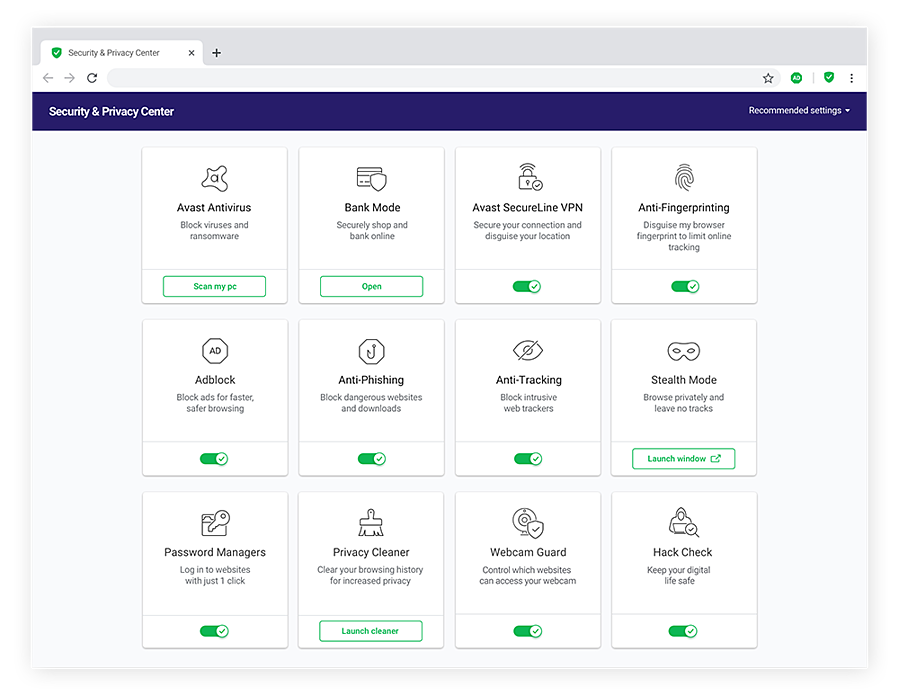 The Security & Privacy Center in Avast Secure Browser for Windows 10