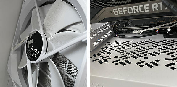 A thin layer of dust can accumulate on even pretty new desktop PC fans.