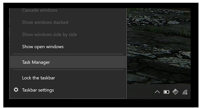 Windows 10, start menu expanded, highlighting Task Manager.