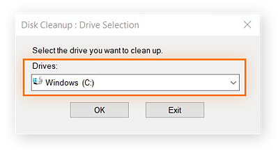 Disk Cleanup feature in WIndows 10. Windows drive selected.
