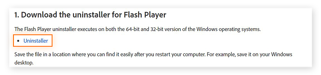 Link to Adobe uninstaller for Flash Player