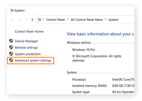 Windows 10 Control Panel with Advanced system settings highlighted