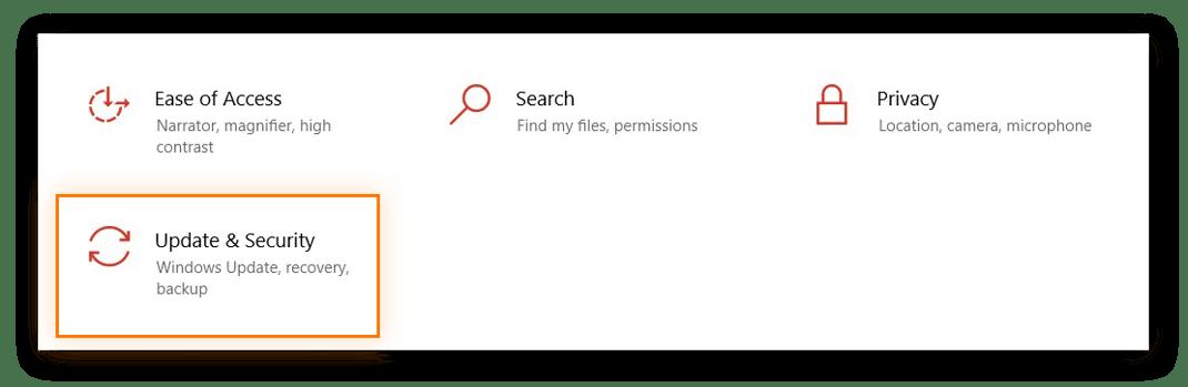 Windows 10 Settings menu, Update & Security is highlighted.