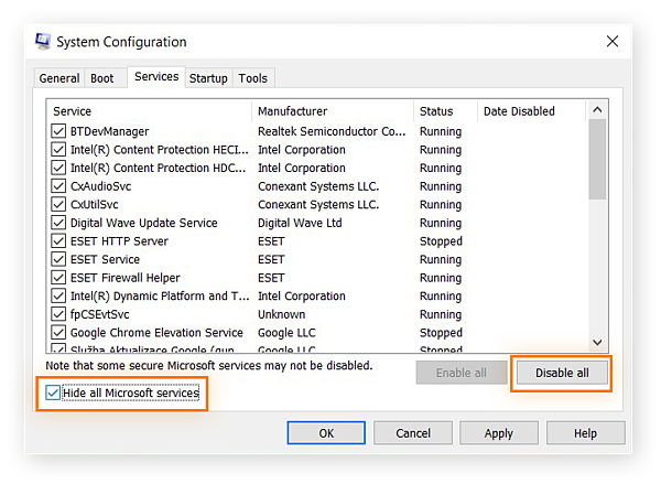 System Configuration window in Windows 10 under Services Tab.