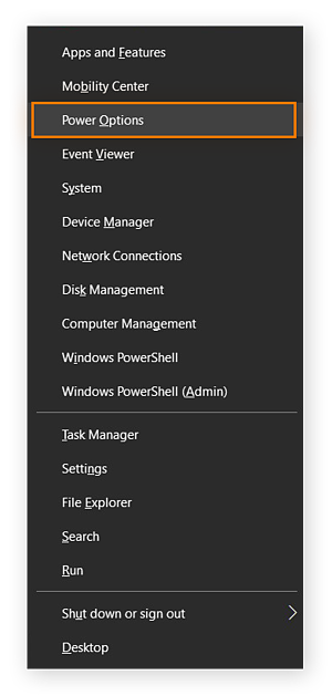 Pop up menu on Windows 10 highlighting Power options.