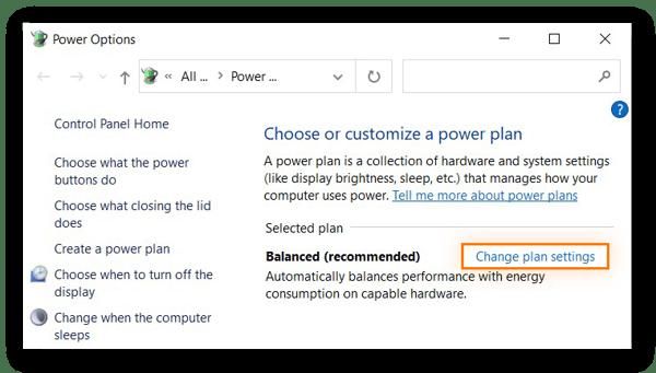 Power Option window in Windows 10 highlighting Change plan settings.