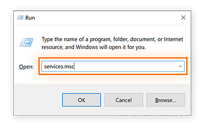 Windows 10 Run feature with services.msc typed in.
