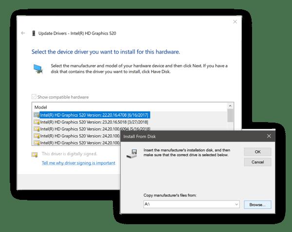 Picking graphics drivers manually