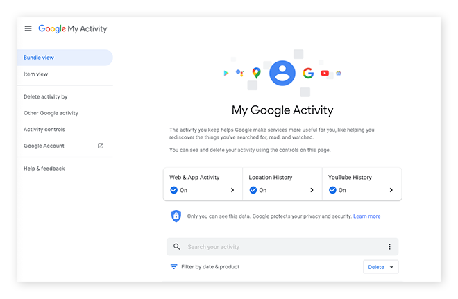 The My Google Activity page allows you to control and delete data.