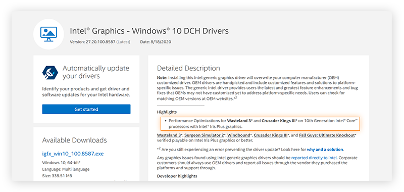 Information on Intel's graphics driver, highlighting its performance optimization features.