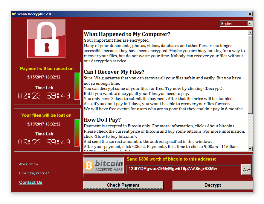 WannaCry ransom note. After you get rid of the ransomware malware, you still need to deal with the encryption.