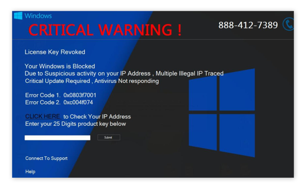 The CRITICAL WARNING! screenlocker looks like an official Windows message, but Microsoft never puts phone numbers in its warnings.