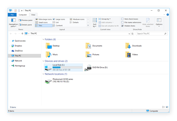 Windows 10 and 8 make revealing hidden files easy.
