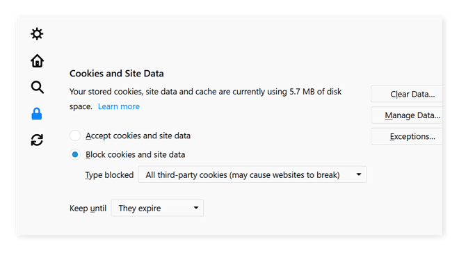 Blocking cookies in Firefox