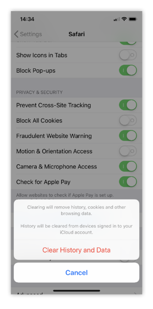 Clearing browsing cookies on iOS