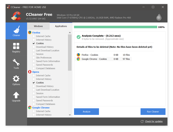 CCleaner browser and cookie cleaner