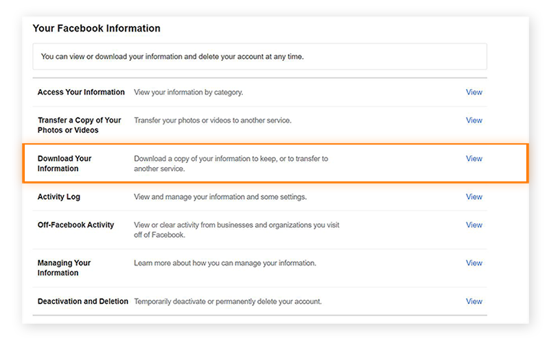 "Alt text: Screenshot of the ""Your Facebook Information"" page in Facebook Settings, with ""Download Your Information"""