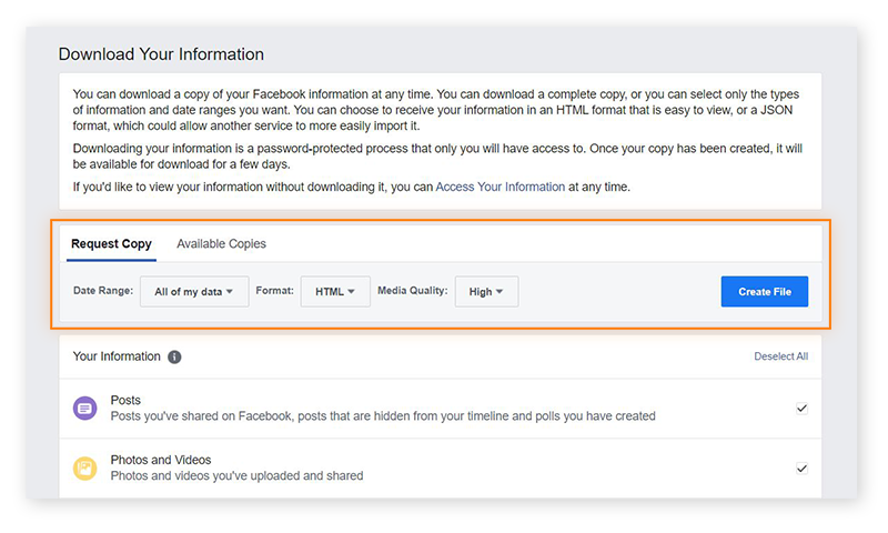 "Screenshot of the ""Download Your Information"" page on Facebook"