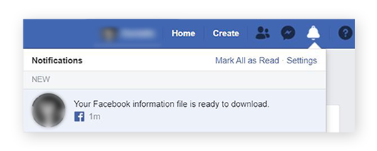 Screenshot of the window letting you know that your Facebook data file is ready to download