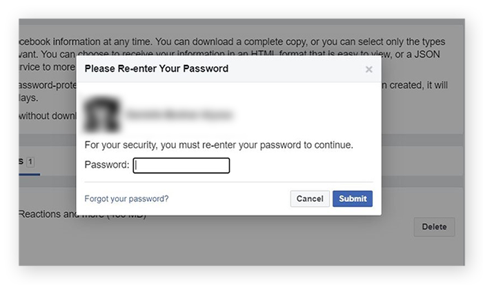 Screenshot of the password prompt from Facebook