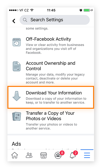 "Screenshot of Facebook mobile menu with ""Download Your Information"""