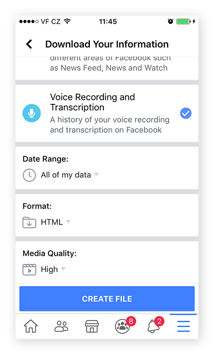 Screenshot of the bottom of the Download Your Information page on Facebook Mobile, where you can select the format of the data you want to download