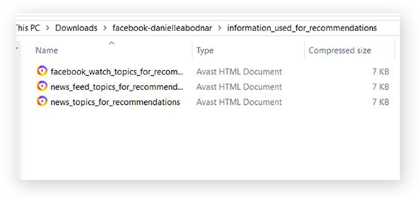 "Screenshot of the files inside the ""Information Used for Recommendations"" folder"