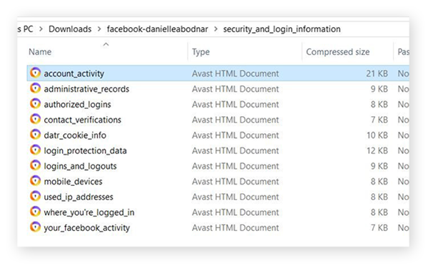 """Screenshot of the files inside the """"Security and Login Information"""" folder"""