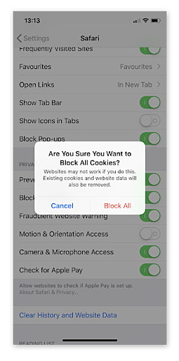 Blocking cookies under iOS