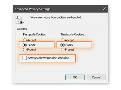 Disabling cookies on Internet Explorer