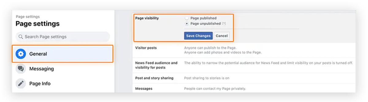 Screenshot of user clicking 'Save Changes' on 'Page Visibility' option in Facebook Page Settings