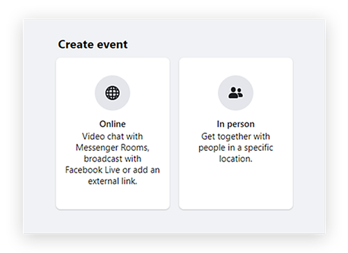 Screenshot showing the options on to make a Facebook business event 'Online'' or 'In Person'.