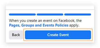 Screenshot of the 'Create Event' button for a Facebook business event