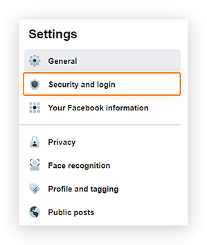 Screenshot showing the location of the 'Security and Login' option in the Facebook Business page 'Settings' menu