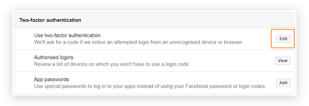 Screenshot showing the location of the two-factor authentication 'Edit' options in a Facebook Business page menu