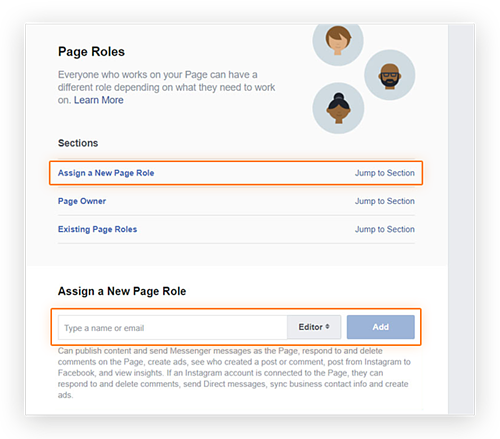 Screenshot showing the location of the 'Assign a New Page Role' option in the 'Page Roles' menu