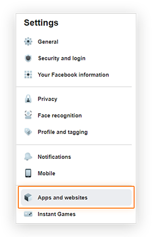 Screenshot showing the location of the 'Apps and websites' menu options in the Facebook Business page 'Settings' menu