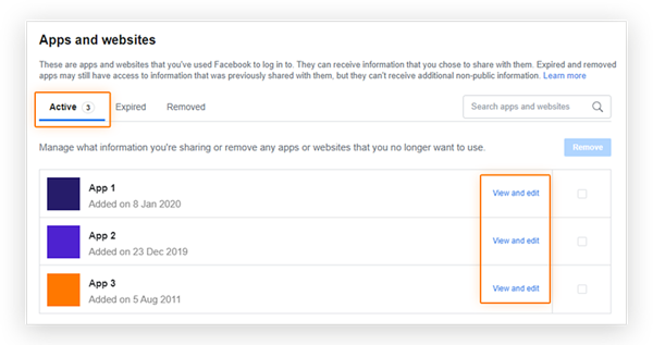 Screenshot showing the location of the 'Active' apps tab and 'view and edit' menu options in the Facebook Business page 'Apps and websites' menu