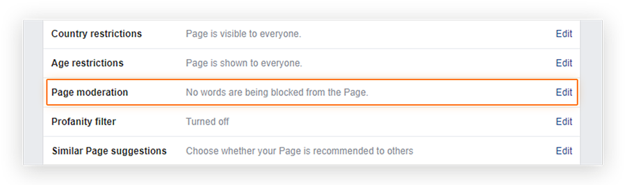 Screenshot showing the location of the Page moderation 'Edit' option in the Facebook Business page 'Manage Page Settings' menu