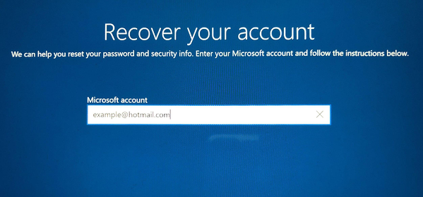 Account recovery screen
