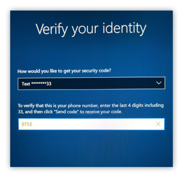 Verifying the users identity
