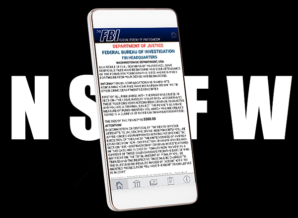 An example of screenlocker ransomware, disguised as an FBI alert, shown on an Android phone