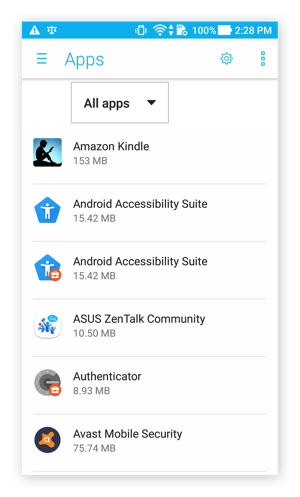 The Apps menu in Android 7.0