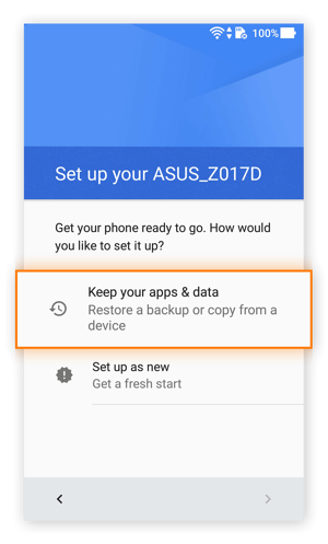 The setup menu in Android 7.0 on an Asus phone