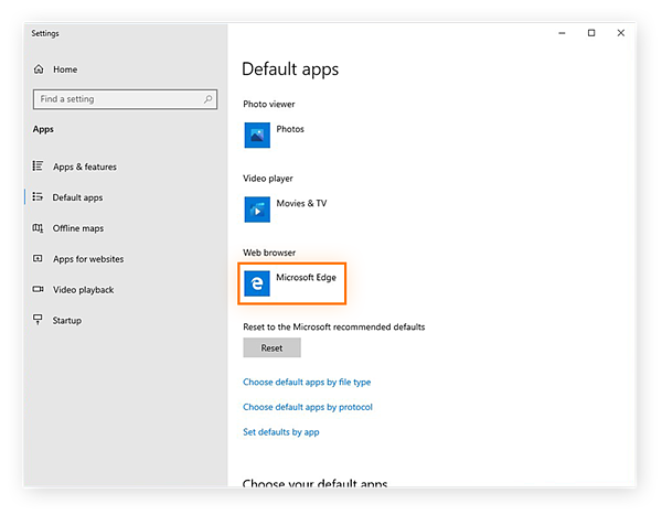 Selecting the default browser in the Default apps settings within Windows 10