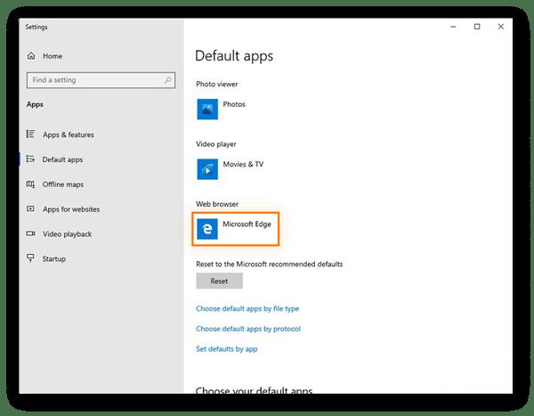 Sélection du navigateur par défaut dans les paramètres des applications par défaut de Windows10