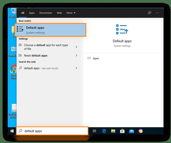 Recherche des paramètres système des applications par défaut dans le menu Démarrer de Windows10