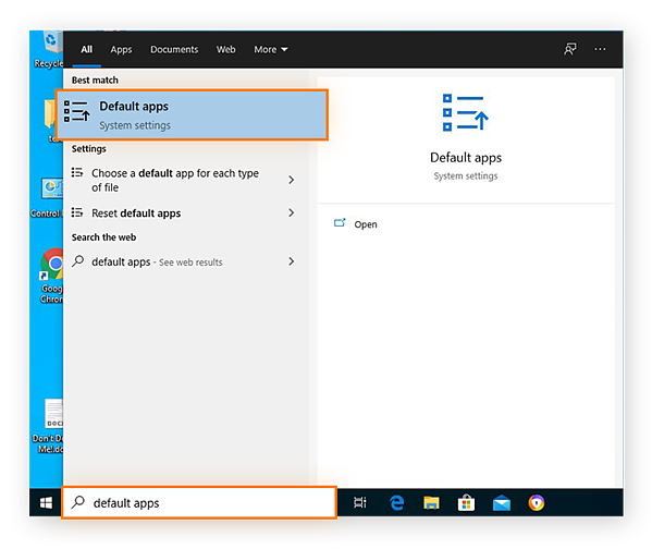 Searching for the Default apps system settings from the Start menu in Windows 10