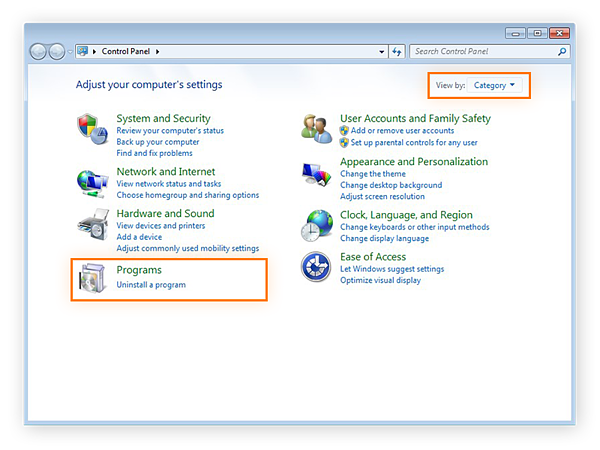 Choosing the Programs category from the Control Panel in Windows 7