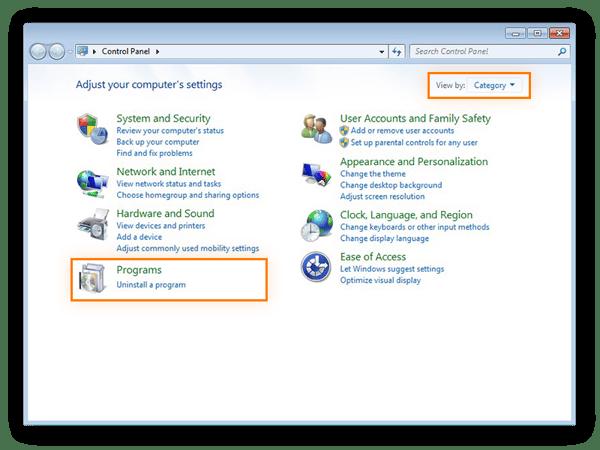 Choix de la catégorie Programmes dans le Panneau de configuration de Windows7